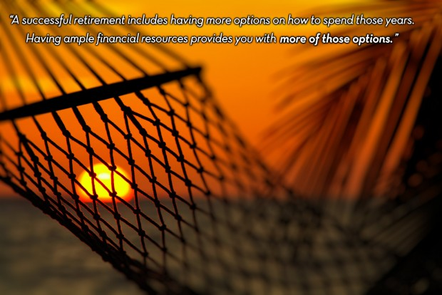 a close-up photo of a relaxing scene: a beautiful golden setting sun shining through the webbing of a hammock suggestive of a relaxing retirement